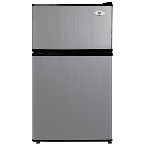 This 3.1 Cubic Foot Double Door Stainless Steel Refrigerator with Freezer would be a great addition to your home. Included: manual, wire shelf, crisp drawer. 3.1 cu.ft. net capacity . Double door: separate fridge and freezer compartments . Top mount . Manual defrost . HCFC-free . Reversible doors . Slide-out wire shelf for storage versatility . Transparent vegetable storage drawer with glass shelf . Flush back design for space saving . Adjustable thermostat . Front leveling legs . Can dispenser and tall bottle rack . Freestanding application . Energy Star / UL . Input voltage: 115V / 60Hz . Power Input: 80W / 1.0 Amp . Refrigerant: R600a, 1.13 oz. . Noise output: 40-44 db. No assembly required . Door space requirement (open fully): 36.25W x 37D in. . Freezer interior dimension: 14.25W x 15D x 7.75H in. (0.96 cu.ft.) . Fridge interior dimension: 15.5W x 15.5D x 18.75H in. . Compressor step: 5D x 7.5H in.. 18.5 in. L x 79.875 in. W x 33.5 in. H (59.5 lbs.) Flush back, compact design is ideal for college dorm room or office. Reversible doors offer versatility. Features separate freezer and fridge compartment, adjustable thermostat and fresh food section.