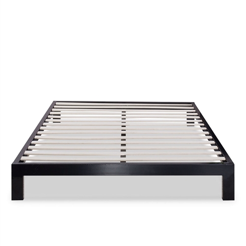 This Queen Modern Black Metal Platform Bed Frame with Wooden Slats features wooden slats that provide strong support for your memory foam, latex, or spring mattress. Low profile 10-inch height. Openings in two of the legs allow for attaching a headboard to this Platform bed. The Queen Modern Black Metal Platform Bed Frame with Wooden Slats provides stylish and strong support for your mattress. Plastic feet protect your floors; 5 year limited warranty.
