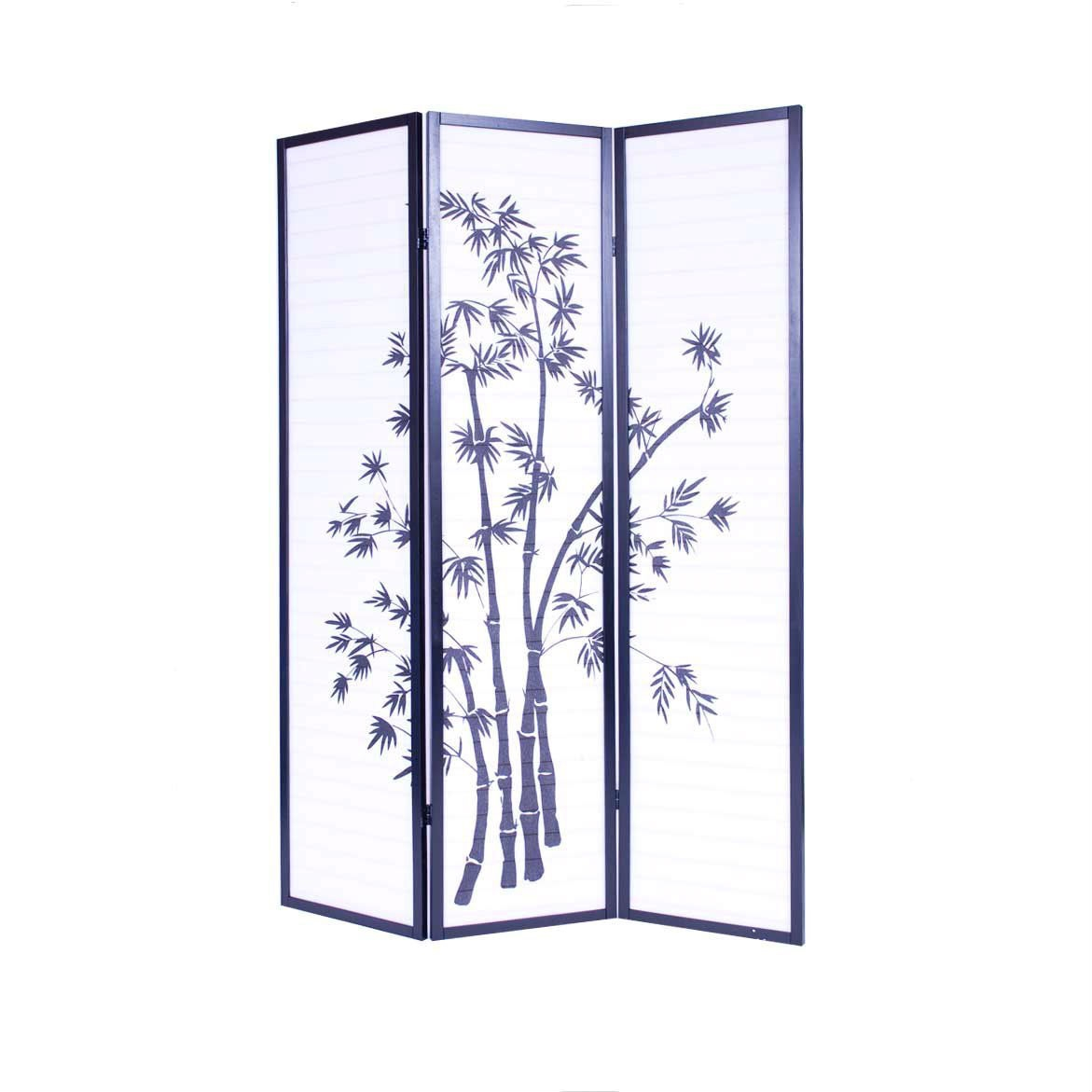 3-Panel Asian Shoji Screen Room Divider with Bamboo Print, RSCB4827461 :  This 3-Panel Asian Shoji Screen Room Divider with Bamboo Print has fiberglass-like heavy duty rice paper. Japanese-inspired room divider for creating privacy in small spaces, lightweight but stable frame made of wood with black finish.