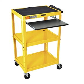 "This Yellow Compact Mobile Standing Computer Cart Workstation Desk is height adjustable in 2"" increments. Includes hand holes for easy mobility. Application Options: Home Office, Office; Product Category: AV Carts; Style Options: AV Cart, Projector Cart; Type Options: Computer Desk, Workstations."