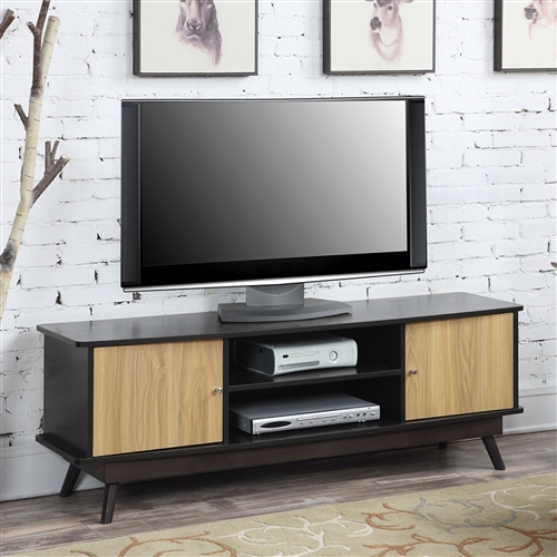An eye-catching focal point for your living room, this Modern Mid Century Style TV Stand in Espresso Light Oak Wood Finish brings mid-century charm to your interior decor. Its tough frame is constructed using durable wood solids and is covered with select veneers for a real wood-grain texture. The frame is finished in a deep espresso brown color with your choice of contrasting finish on the cabinet doors. Behind each door is a single shelf for storage with an open shelf area between. A simple, angular look and a choice of colors makes this piece easy to add to any style of decor.