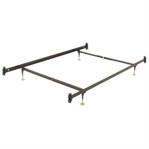This Twin size Sturdy Metal Bed Frame with Hook-on Headboard Footboard Brackets has Versatile Glide Equipped leg height, adjustable from 6.5-inch to 9-inches. C-Clamps make assembly easy and are infinitely adjustable. This frame has a Center Support System for extra support and stability. The Center Support system consists of one Center Rail with one adjustable glide equipped leg. Many mattress manufacturers require center support for queen sizes and above in order for their warranty requirements to be met. Sturdy Construction is also featured on these bed frames. The Hook-on Headboard / Footboard brackets are of heavy-duty, riveted construction. Locking legs create a triple-thick steel layer at the corners. Legs are recessed for safety. The glides are adjustable for variable bed heights.