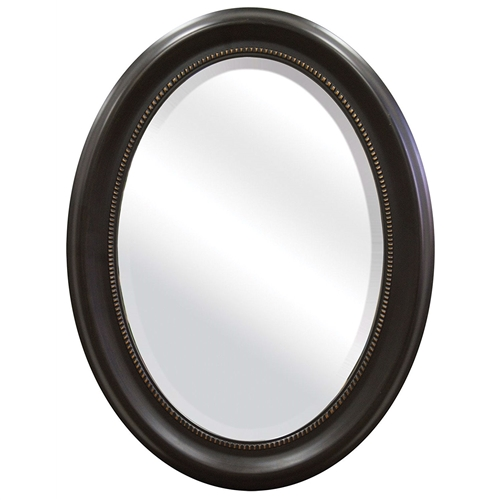 This Round Oval Bathroom Wall Mirror with Beveled Edge and Bronze Frame features wide 3.25 inch molding, giving the mirror a classic look. Hangs vertical or horizontal with D ring hangers