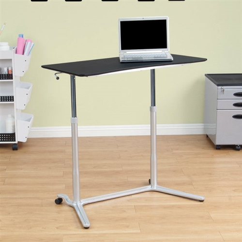 This Modern Ergonomic Sit Down Stand Up Desk in Black Finish is perfect for a multitude of applications. This tabletop is adjustable in height, perfect for sitting or standing. Easily adjust the height. Sierra collection; Rounded corners: Yes; Desk Type: Standing desk; Top Material: Manufactured Wood; Top Material Details: MDF; Base Material: Metal; Base Material Details: Steel; Application: Home office; Country of Manufacture: China.