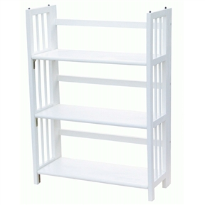 This White Wood Folding Bookcase Storage Unit Shelving with 3 Shelves would be a great addition to your home. It has a classic styling and there is no assembly required.
