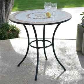 30-inch Round Bistro Style Wrought Iron Outdoor Patio Table with Tile Top, RBST65184 :  From the banks of the Seine to the cafe at Rue De Your-house, the pleasing outdoor style of this 30-inch Round Bistro Style Wrought Iron Outdoor Patio Table with Tile Top is going to be a welcome addition to any place that you'd like to relax. The wrought iron body has a smooth black finish that complements the multi-hued tile mosaic on the reinforced round table-top. Multi-color tile mosaic radiates out from the center, This sturdy and attractive table easily seats two to three people and is durable enough for outdoor use in any climate. Seating 2 - 3 Person; Table Top Material Stone & Tile; Umbrella Hole No.