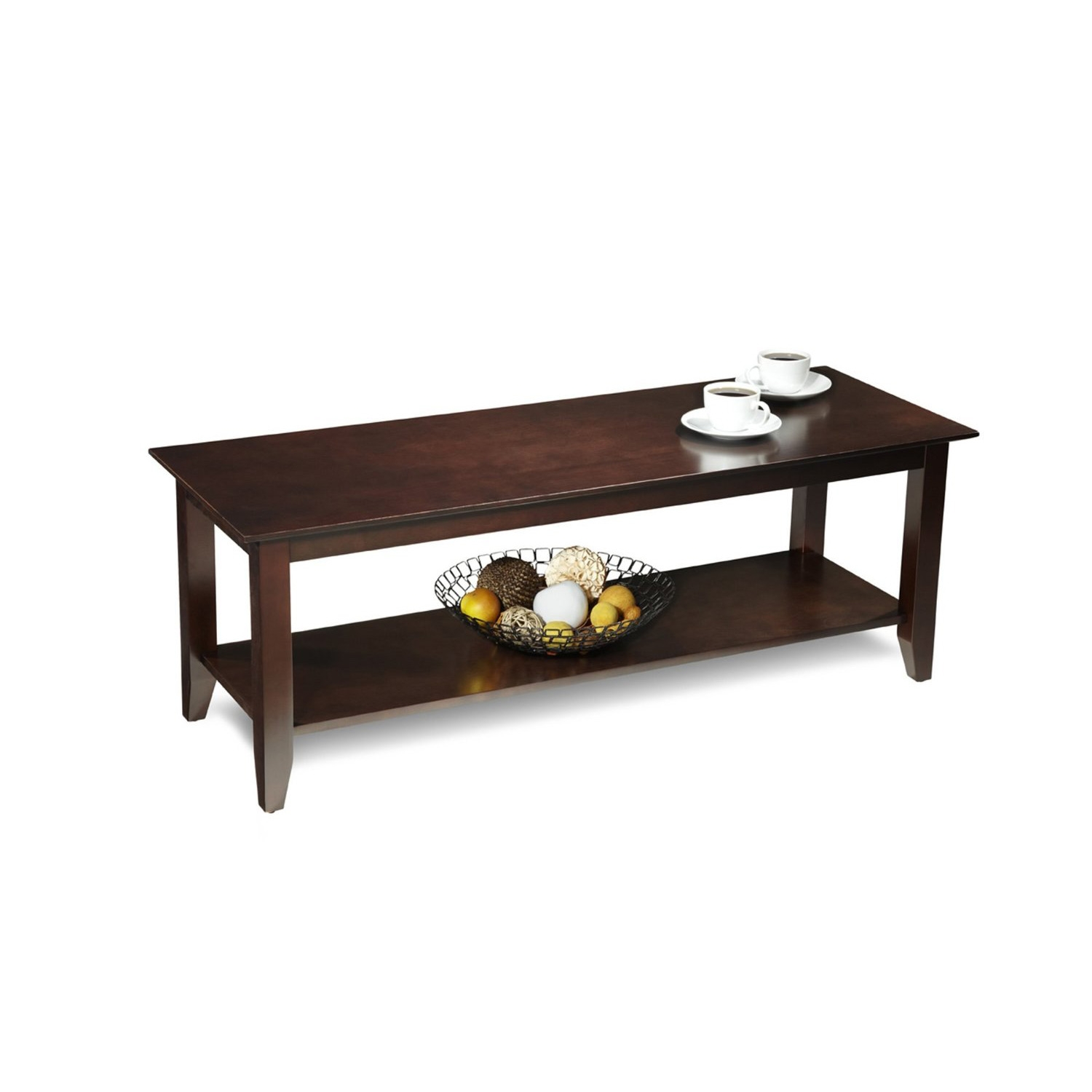 This Espresso Wood Grain Coffee Table with Bottom Shelf would be a great addition to your home. Combining exciting designs with economical overseas manufacturing to bring you the finest in sensible contemporary furniture. Focusing on R-T-A Entertainment, TV, Storage, and Accent furniture.
