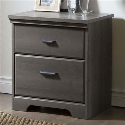 You will love this 2-Drawer Bedroom Nightstand in Gray Maple Wood Finish for its many storage spaces. A rich finish that creates an air of sophistication in any bedroom enhances it. For your children's safety and your own: Plastic drawer slides with safety stop and dampers; With non-toxic laminated particleboard; Frame Material: Manufactured wood; Storage Function: Clothing; Assembly Required: Yes; Product Warranty: 5 Year; Product Type: Standard dresser (horizontal); Scratch Resistant: Yes; Drawer Glide Extension: 0.75 extension.