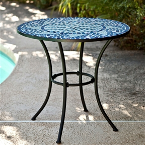 30-inch Round Metal Outdoor Bistro Patio Table with Hand-Laid Blue Tiles, CMGE489481 :  Bring artistic color to your outdoor décor with this 30-inch Round Metal Outdoor Bistro Patio Table with Hand-Laid Blue Tiles. Made with legs of durable tubular steel, it boasts a top of hand-laid tiles in tones of aqua blue. Its artful design is complemented by a black powder coat finish that keeps it looking good all season long. Keeping it clean is easy too, just hose it down and let the warmth of the sun dry it off. Enjoy a morning cup of your favorite brew or a glass of wine with a friend on this delightful table. Iron frame with black powder-coated finish; Store indoors in winter; Minor assembly required; Assembly Assembly Required; International Shipping Canada; Seating 2 - 3 Person; Style French, Bistro; Table Top Material Mosaic; Umbrella Hole No.