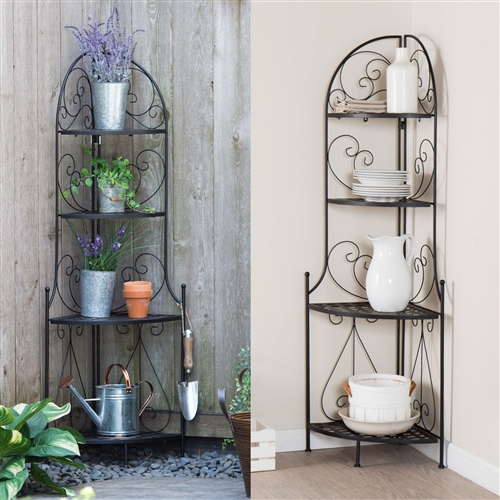 Use this Indoor / Outdoor Corner Bakers Rack Folding Metal Plant Stand with 4-Shelves indoors and out for all your storage needs. Its space-saving corner design is ideal for storing plates or garden supplies, and it makes for easy transporting when folded up. Its robust metal construction was designed to last, so you can count on this to last for years to come. Etagere-style bakers rack with exceptional storage; Assembly Required; Material Metal Shelf; Style Traditional.