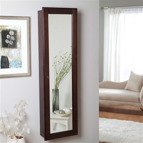 Wall Mounted Locking Jewelry Armoire Cabinet in Espresso Wood Finish, WMJAE651845 :  Save space in your bedroom and add a heightened level of organization to your daily routine with this Wall Mounted Locking Jewelry Armoire Cabinet in Espresso Wood Finish that doubles as a full-length mirror. Inside the cabinet are hooks, trays, shelves, and slots to organize all of your jewelry, from rings to necklaces. The cabinet is made of sturdy wood and comes in a cherry, oak, white, or espresso finish to match any bedroom design. The cabinet door locks, so you don't have to worry about anyone accessing your jewelry without your permission. Feature Full Length, Locking, Wall Mounted, Mirror; Material Solid Wood Front, Wood Solids/Veneers, Wood Composites (Back/Body) Style Traditional, Mission, Louis Philippe, Girls and Teens.