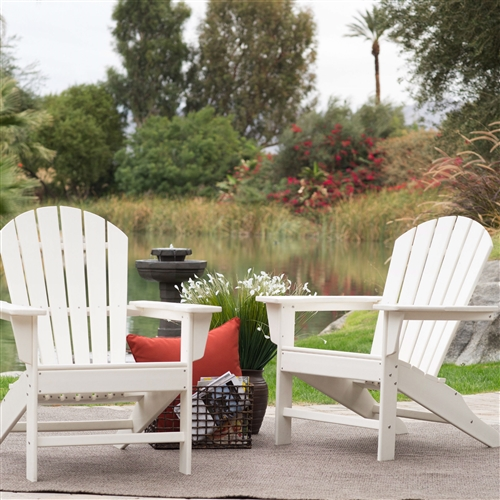 Outdoor Weather Resistant Patio Deck Garden Adirondack Chair in White Resin, WPACD5198415 :  You've seen these beauties at high-end outdoor stores, and now you can get the same look for less when you choose this Outdoor Weather Resistant Patio Deck Garden Adirondack Chair in White Resin. We designed this chair to withstand season after season of the elements, without warping, fading, rusting, or splintering. That's because although it looks like it's made of wood, it's actually made from high density polyethylene, a plastic that's so sturdy it's practically maintenance-free. Just hose it off and enjoy it all year long. Stainless steel hardware ensures its durability as well. Plus, you'll love the true, deep colors that will never fade in the sun! This Adirondack chair will provide relaxing comfort for years to come. Classic Adirondack style; Surface texture resembles cedar wood.