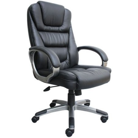 This Ergonomic Black Faux Leather Executive Office Chair would be a great addition to your home. Ergonomic office chair with lumbar support and pneumatic seat height adjustment. Waterfall seat design eliminates leg fatigue; Upright locking position and adjustable tilt tension control; Easy assembly upon arrival; No tools required.