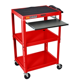 "This Mobile Stand Up Computer Desk Workstation Cart in Red Steel is height adjustable in 2"" increments. Includes hand holes for easy mobility. Application Options: Home Office, Office; Product Category: AV Carts; Style Options: AV Cart, Projector Cart; Type Options: Computer Desk, Workstations."