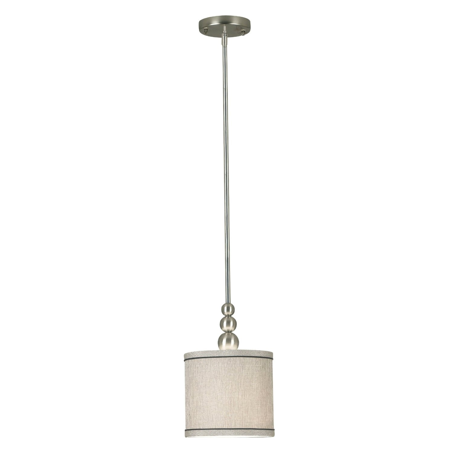 This 1-Light Mini Pendant in Brushed Steel with Fabric Drum Shade comes with an 8-Inch width silver metallic fabric shade. The crisp, clean design of Margot is elegant no matter what the color: brushed steel or oil rubbed bronze makes for a gorgeous modern neutral. Either way, a simple drum shade keeps things streamlined.
