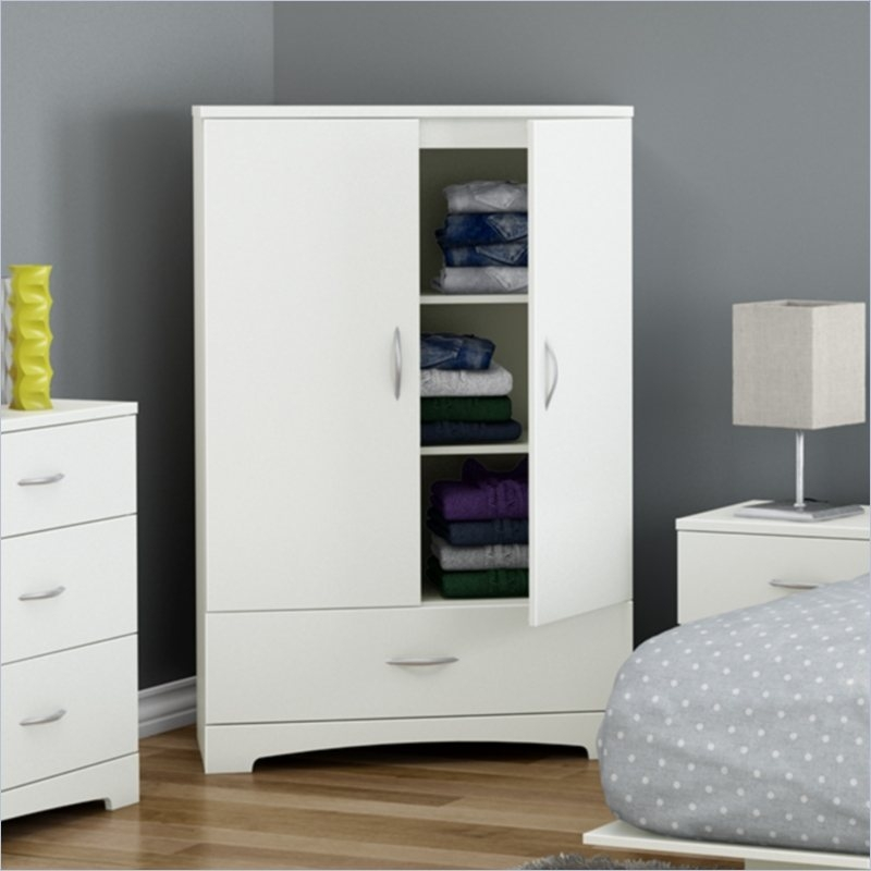 Thanks to its neutral finish and timeless look, the sleek lines of this White Clothes Storage Wardrobe Cabinet Armoire with Bottom Drawer blend perfectly into today's trendiest décors. 3 storage compartments behind the doors separated by 2 adjustable shelves (15lbs. weight limit each). Featuring 2 adjustable shelves behind each door, and a large drawer for storage, it is a very convenient storage addition to any home. Features 1 spacious drawer; Includes 2 hooks for hanging scarves, ties or other items; Drawer slides made of polymer, which feature a safety latch and dampers; The back surface is not laminated; Complete assembly required by two adults (tools not provided).