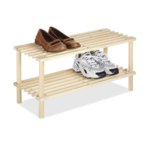2-Shelf Natural Wood Shoe Rack Organizer Storage Shelves, WNWS16843 :  This 2-Shelf Natural Wood Shoe Rack Organizer Storage Shelves is not only stylish but functional as well. They can be used in closets, dorm rooms, laundry rooms, or anywhere you need a little extra storage space. They feature an easy no tool assembly for fast setup. Setup dimensions 10.25-inches x 24.75-inches x 11.5-inches. Store anything from books to shoes; Attractive design.