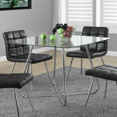 Talk about all the right angles on style - this Modern Square Dining Table 40 x 40-inch with Tempered Glass Top features smooth, rounded edges from tabletop down the table base, creating a sleek look that makes any meal more chic - even those leftovers. Finish Chrome; Seating 4 Person; Shape Square; Style Modern/Contemporary; Table Top Material Glass; Warranty 1 Year Manufacturer Limited Parts Warranty.