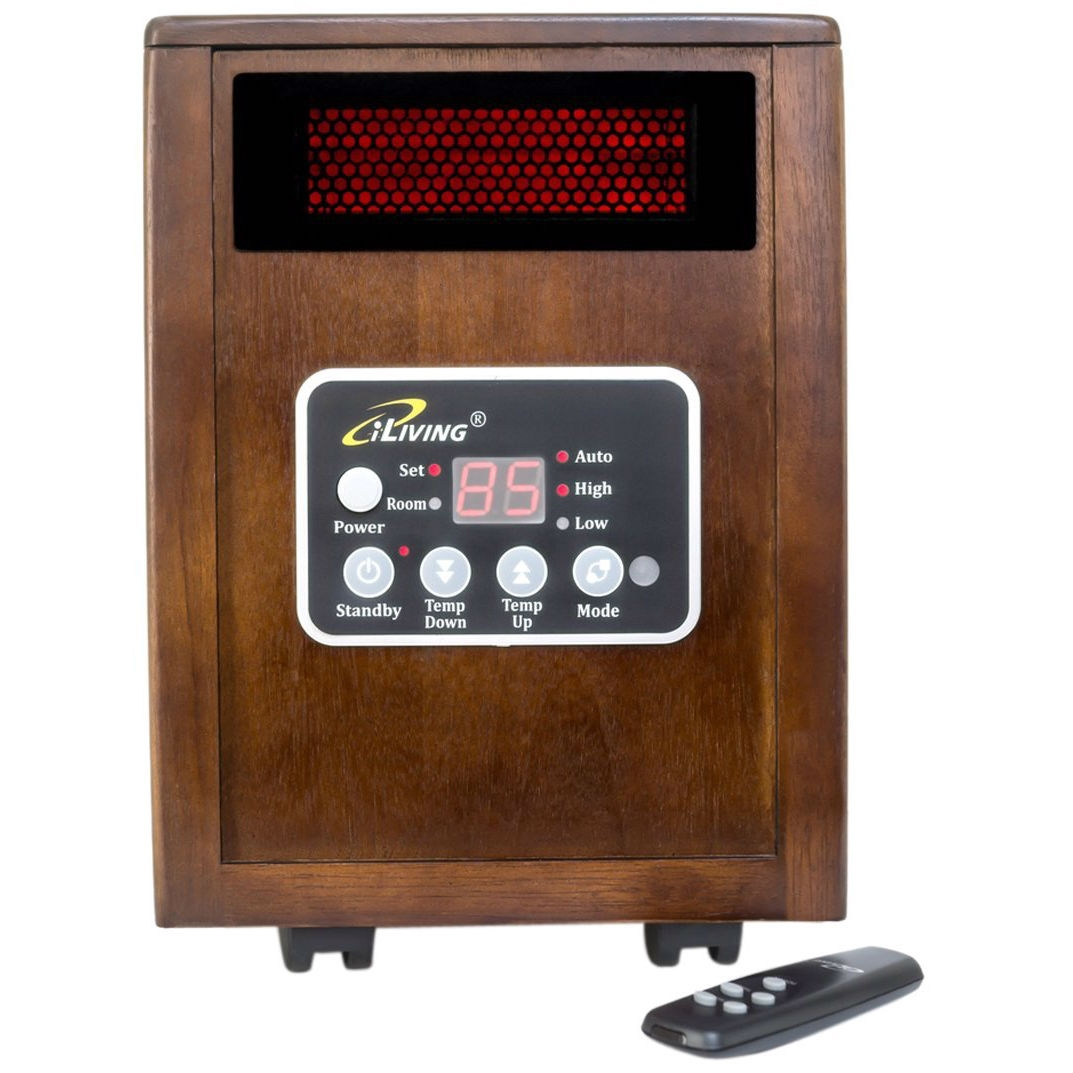 """Infrared Space Heater 1500W with Remote w/ Dark Walnut Wood Cabinet,  PSHWC12348 :  This Infrared Space Heater 1500W with Remote w/ Dark Walnut Wood Cabinet is a great alternative to warm any indoor spaces up to 1,000 square feet. It is designed to be long lasting and comes with the following features: 12hr automatic shut-off timer , Auto Energy Saving Mode, High and Low Setting, Front Panel Push Button Controls, Dual Heating Systems that combine infrared quartz tube + PTC technologies, IR Remote Control, Noise level 39 dB super quiet, Electronic Thermostat: range 50 to 86 degrees, portable with 4 caster wheels, lifetime filter that can be vacuumed cleaned or with warm water, modular design with galvanized steel inside, weight: 24 lbs, uses conventional 110v 3 prong outlet, height: 15"""" width: 12"""" depth: 13"""", electrical Cord 72"""" long, rated at approximately 5200 BTU, Amps: 12.5, Watts: 1500, listed by Underwriters Laboratories (UL) USA & Canada, One year USA Warranty.  Tip-Over and Overheat Protection Systems ensures the safety children and pets around; Comes with Auto Energy Saving Mode and an electronic thermostat with 50 to 86 degree heat range."""