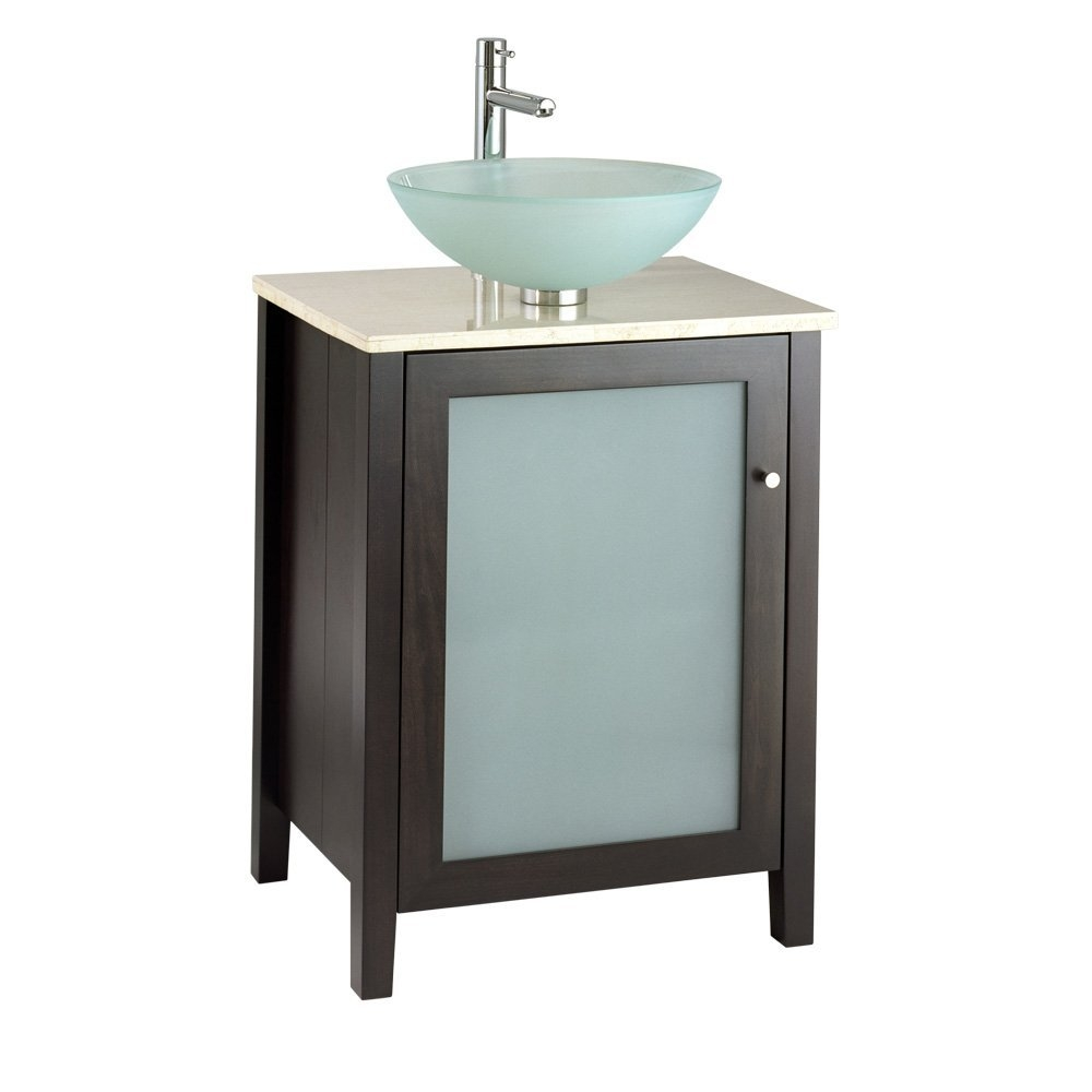 24-inch Modern Espresso Bathroom Vanity - Top & Faucet Not Included, EBV3632 :  This 24-inch Modern Espresso Bathroom Vanity - Top & Faucet Not Included is a contemporary style vanity with poplar wood construction with birch veneers and a frosted glass door insert. The nominal dimensions are 24-by-20-by-31 1/4-Inch. Great performance and great looks meet in our complete line of fixtures and faucets for bath and kitchen. Performance and reliability. Ingenious features. Top and faucet sold separately.