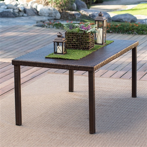 Dark Brown 63-inch Outdoor Resin Wicker Rectangular Patio Dining Table - Seats 6, CWBDS61891 :  Dine in comfort and style while enjoying the outdoors with this Dark Brown 63-inch Outdoor Resin Wicker Rectangular Patio Dining Table - Seats 6. Featuring a strong and durable steel frame covered in all-weather wicker that's been finished in a natual hue, this table is the perfect addition to your patio or deck. A PVC board under the tabletop adds an added layer of durability so you know that this table will last for years. Seating 6 Person; Shape Rectangle; Style Modern; Warranty 30-day product guarantee.