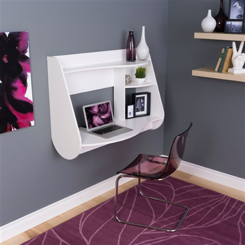 With its sleek look and innovative space-saving design, this White Modern Wall-Mount Laptop Computer Desk in White is a must-have for any bedroom, home office, or work space. This piece suits any space, big or small, with wood and laminate construction available in your choice of finish. It directly hangs on any wall in any room with an easy, lightweight design. Boasting major contemporary flair, this piece features two shelves for keeping office essentials and other mementos. It features cord management to avoid clutter.