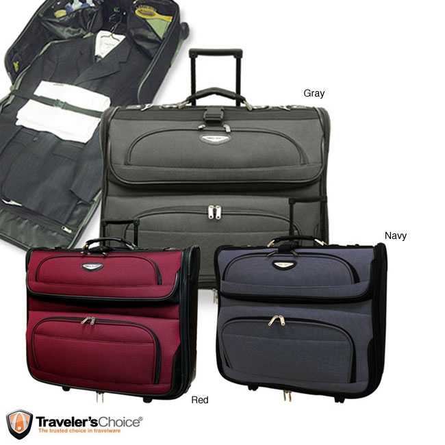 Dutch Rolling Travel Garment Bag Luggage, TSARGB5299 :  This Dutch Rolling Travel Garment Bag Luggage has Adjustable and detachable shoulder strap with non-slip pad. Also, it has Fold-out design to reduce wrinkles in suits. PVC backing; Available in navy, red, or grey; Interior handle system; Inline skate wheels; Multiple outside gusseted pockets for easy packing; Spacious main compartment with zippered mesh pockets; Tie straps to secure items; Industrial quality hardware; Top carry handle; Center strap for carrying extra bag. This Dutch Rolling Travel Garment Bag Luggage has Adjustable and detachable shoulder strap with non-slip pad. Also, it has Fold-out design to reduce wrinkles in suits. PVC backing; Available in navy, red, or grey; Interior handle system; Inline skate wheels; Multiple outside gusseted pockets for easy packing; Spacious main compartment with zippered mesh pockets; Tie straps to secure items; Industrial quality hardware; Top carry handle; Center strap for carrying extra bag. The Amsterdam garment bag from Travel Select is just what you need for the two-day business trip or weekend excursion.
