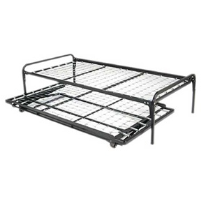 "Our Duo Riser metal bed frame is a functional and versatile piece of furniture for your home. The optional pull out pop up trundle is bed is a great sleep space for guest. The Duo Riser bed/daybed frame and optional trundle bed are available in size twin, 39"" x 75"", and are constructed out of steel. No boxspring or foundation required. Works well with any standard twin size mattresses 8"" thick or less. Affordable alternative to more expensive daybed frames."