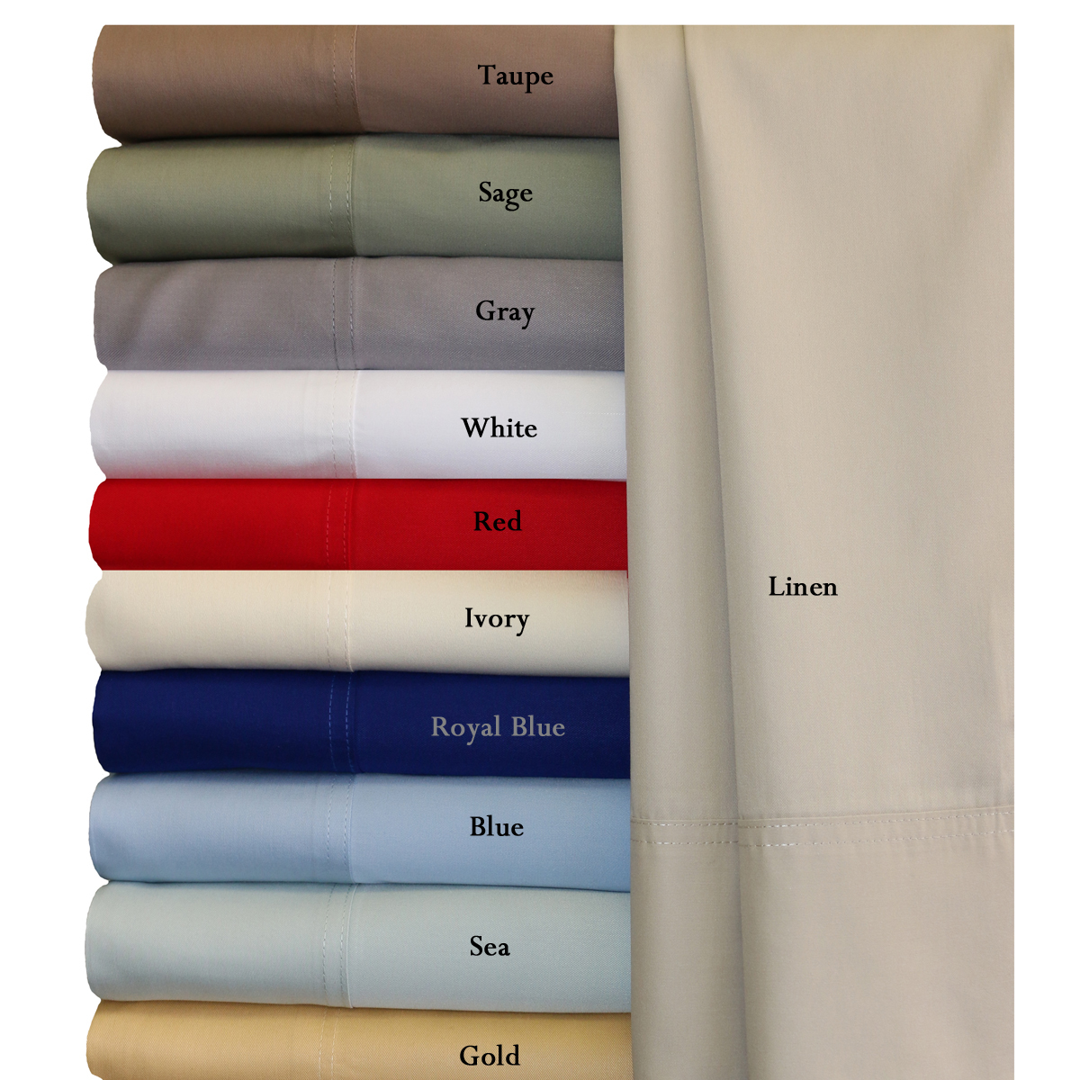 "Royal Tradition. Super Soft 100% Viscose from Bamboo Sheet Sets. Wrap your self in the softness of the luxurious 100% Rayon from Bamboo sheets like those found in royalty homes. You won't be able to go back to cotton sheets after trying these 100% Viscose from Bamboo sheets. Amazingly soft similar to cashmere of silk. 60% more absorbent than cotton. Sustainable, fast growth rate over 1 meter per day. Requires significantly less pesticides than cotton and is naturally irrigated. Natural anti-bacterial and deodorizing properties.*"" Viscose from Bamboo "" or "" Rayon from Bamboo"" are both interchangeable common terms used when referring the Bamboo fabric derivatives. Bamboo woods undergo additional process before the fibers are spun into yarns. Therefore, bamboo yarns are turned into a Viscose or Rayon than woven to create bamboo fabrics.* Bamboo is one of the fastest growing plants because of it's ability to absorb water and is thus a very environmentally friendly material. These are the "" Greenest Sheets"" around. This explain why bamboo sheets wick so much water away from the body, keeping people dry and comfortable. Machine wash in cold water.Delicate cycle with mild detergent. No Bleach. Tumble Dry on low heat. Remove immediately at end of cycle. Press with warm iron if needed. Do not Use Hot water."