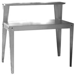 Use this 24 x 44 inch Galvanized Steel Top Utility Table Workbench Potting Bench almost anywhere. The multi-use steel table/work bench can be used as a potting bench in the garden or as a table next to the BBQ. The versatile work bench can be put in the garage, basement or workshop to have space to work on home repairs and hobby projects. The metal table can increase the surface area in your kitchen for prep work and double as a serving station during a party or holiday dinner. The table/work bench works well in commercial applications, store tools, supplies and equipment or use a coffee station in the break room. The table top of the multi-use steel table/work bench sits at a comfortable 30 inches from the floor and measures 44 inches wide x 24 inches deep. A second shelf measuring 44 inches wide x 9.75 deep, sits 14 inches above the tabletop and can hold tools, mugs, spices, pots or pans. Whatever you need to get up and out of the way, but need to keep within easy reach. Use as a potting bench in the garden, as a table next to the BBQ or as a workbench in the garage or workshop, great for commercial use too.