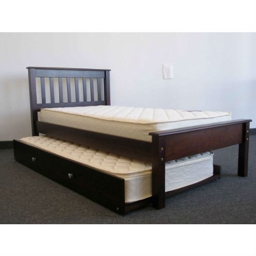 Twin size Platform Bed Daybed with Trundle in Cappuccino: Product Code: BKTB34168 : This Twin size Platform Bed Daybed with Trundle in Cappuccino is child-safe and lead free - All wood is fully sanded and protected with a clean smooth coating to prevent cracks and splinters - Solid Brazilian Pine - no particle board - Twin bed includes (2) Side Rails (1) Head Board (1) Foot Board (12) Wood Slats plus Twin Trundle - Total Dimensions are approx. 40 high x 80 1/2 long x 43 inches deep - space between floor and bottom rail is 11 1/2 inches - Trundle dimensions are approx. 10 high x 74 long x 41 inches deep - Will accommodate a mattress up to 8 inches - Requires a standard twin mattress (39 x 75 inches) - Hardware and instructions included - some assembly required - SALE IS FOR TWIN BED ONLY EXCLUDES MATTRESS, PILLOWS AND BED COVERINGS. No need for a bunkie board or a bunkie mattress as this bunk bed comes with a complete set of slats; Also available with 2 Under Bed Drawers.