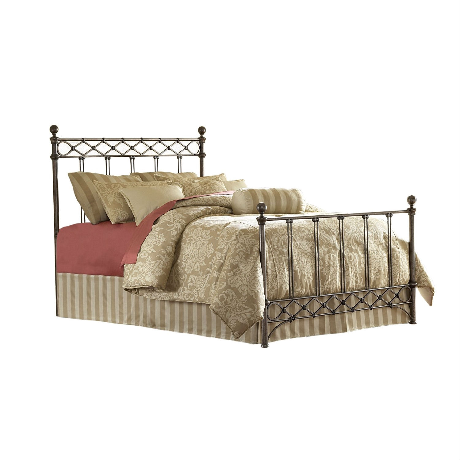 King size Metal Bed with Headboard and Footboard in Copper Chrome Finish,  AMB459:  This King size Metal Bed with Headboard and Footboard in Copper Chrome Finish is named for the diamond pattern wire design casted below the top rail of the headboard and just above the bottom rail of the footboard. The grills are composed of five sets of double spindles also casted together. There is a curved piece of metal tube added to the bottom of the footboard which gives a bit of additional flair to the design. The finish is called Copper Chrome and is a mixture of copper and silver streaked with black antiquing - which will allow the bed to coordinate with many types of wood accessory pieces.
