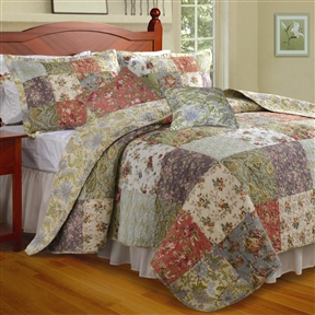 This King size 100% Cotton Floral Quilt Set with 2 Shams and 2 Pillows would be a great addition to your home. It is oversized for better mattress coverage and made with 100% cotton. Intensively quilted for style and durability; Reversible all-over Jacobean floral print gives a two in one look; Machine washable; Spreads a riot of garden colors across your bedroom scene. Cleaning Method: Machine washable; Drying Method: Tumble dry; Commercial Use: Yes.