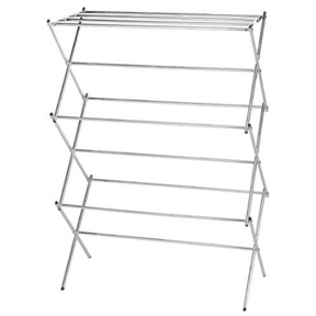 Folding Clothes Drying Rack in Chrome - Air Dry your Laundry, HEFCDR2799 :  Save on energy consumption and help the planet by air-drying clothes indoors or out with this Folding Clothes Drying Rack in Chrome - Air Dry your Laundrys. Designed to fit several items in a small footprint, the piece is fashioned from steel for durability with a rust-resistant chrome finish. It is great for delicate lingerie, small woolen items, or premium denim. Easy to drop into position and collapse for storage, the rack measures 30 inches wide by 15 inches deep by 42 inches high when open. Folded flat, it is just 3-1/4 inches thick, making storage simple. Providing 25 feet of drying space overall, the rack arrives fully assembled and ready to use. Folding chrome-plated clothes drying rack with 25 feet of linear drying space; Made from steel for durability with a chrome finish and stable angled legs; Air-drying design helps preserve clothing and saves on electricity consumption; Built to drop open and lock into place; Arrives fully assembled.