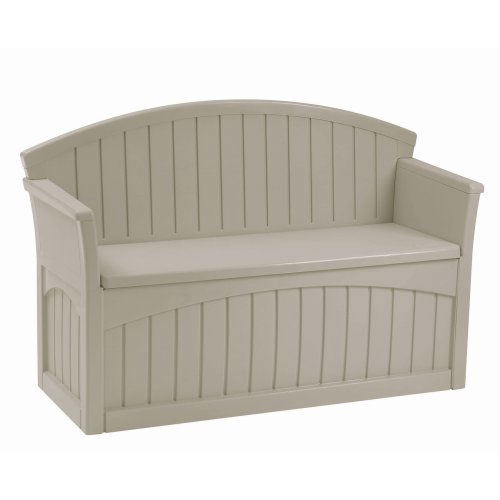 Outdoor Patio Garden Bench with 50-Gallon Storage Space Under Seat, SPLT80995 :  This Outdoor Patio Garden Bench with 50-Gallon Storage Space Under Seat provides comfortable seating along with convenient storage. It is perfect for storing gardening supplies, patio accessories and more. This patio bench is decorative and functional and will look great in your backyard. Stay-dry design and long-lasting resin construction.