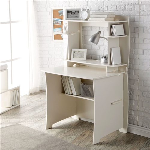 This White Home Office Computer / Writing Desk with Hutch fits in the smallest of spaces, yet provides highly functional vertical storage. It comes complete with a 36-inch straight desk and matching 36-inch hutch, offering plenty of storage for a kid's room, college dorm room, or small home office. With its cotton white painted finish, this unit is versatile and attractive. Cable pass-thrus eliminate clutter, and your configuration can accommodate either desktop or laptop computers. Desktop Material Wood Solids/Veneers; Gender Boys, Girls; Material Wood; Shape Rectangular; Style Transitional.