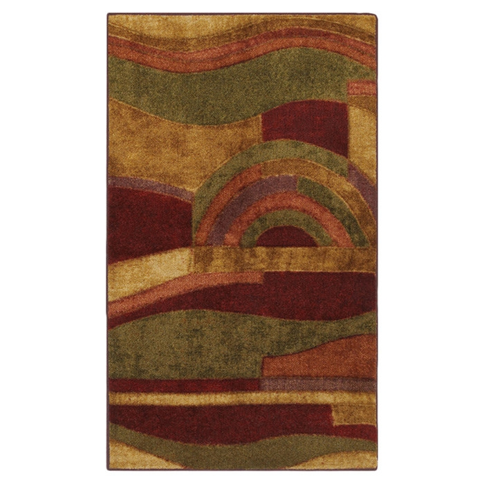 3'9 x 5'8 Abstract Area Rug in Burgundy Red Wine Green and Yellow, PWR58451 :  Combining a pallete of earth tones accented by red, this 3'9 x 5'8 Abstract Area Rug in Burgundy Red Wine Green and Yellow is a bold contemporary statement. This artistic abstract pattern is great for both living room and dining room decor. Printed on the same machines that manufacture one of the world's leading brands of printed carpet, this rug is extremely durable and vibrant. This technology allows the use of multiple colors to create a rug that is wonderfully designed and applicable to any room in your home. Crafted completely in the USA, this rug is made from durable stain resistant nylon. Machine wash separately in cold water using mild detergent; Use only non-chlorine bleach when needed; Tumble dry on low setting; Regular vacuuming helps rugs remain attractive and serviceable; Construction: Machine made; Collection: New Wave; Material Details: Nylon; CRI Certified: Yes;  Product Warranty: 1 year limited manufacturing defects warranty.