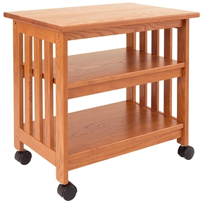 This Mission Style Wood TV Stand / Printer Cart in Golden Oak Finish is designed to hold a TV in the family room or use as a printer stand in the home office. Dust as needed with soft cloth. Clean with damp cloth and mild solution of dish soap. Polish with soft cloth and polish that contains no pigment or silicone. Product Type: Mobile Number of Casters: 4; Shelf Weight Capacity: 100 Pounds; Weight Capacity: 150lbs.; Commercial Use: Yes; Eco-Friendly: Yes; Country of Manufacture: United States.