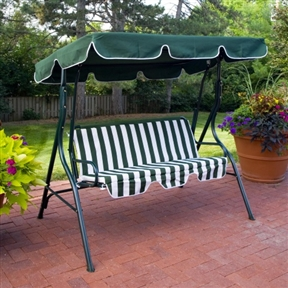 2-Person Porch Swing with Canopy in Green & White. CTPS11981 : Decorate your patio or deck while providing a comfortable place to relax with this 2-Person Porch Swing with Canopy in Green & White. The canopy swing features a strong steel frame that provides enough support for two people to use comfortably at the same time. The swing is a colorful green and white, with solid-green frame and canopy and a striped polyester cushion. The canopy extends a bit of protection from the sun to the users, allowing for extended use of the swing throughout the day. Long-lasting rust-resistant powder-coated finish; Adjustable tilt canopy; Easy to assemble; Hanging hooks included.