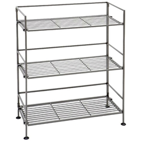 This 3-Shelf Iron Rectangular Folding Metal Bookcase Storage Shelves is great for storing any items that you desire. Its contemporary style will add flair to your living room, bedroom, bathroom, kitchen or office! The wrought iron shelf folds flat for easy storage or transportation. With the new Snap-on feature, you can now connect multiple units horizontally for a complete custom fit.