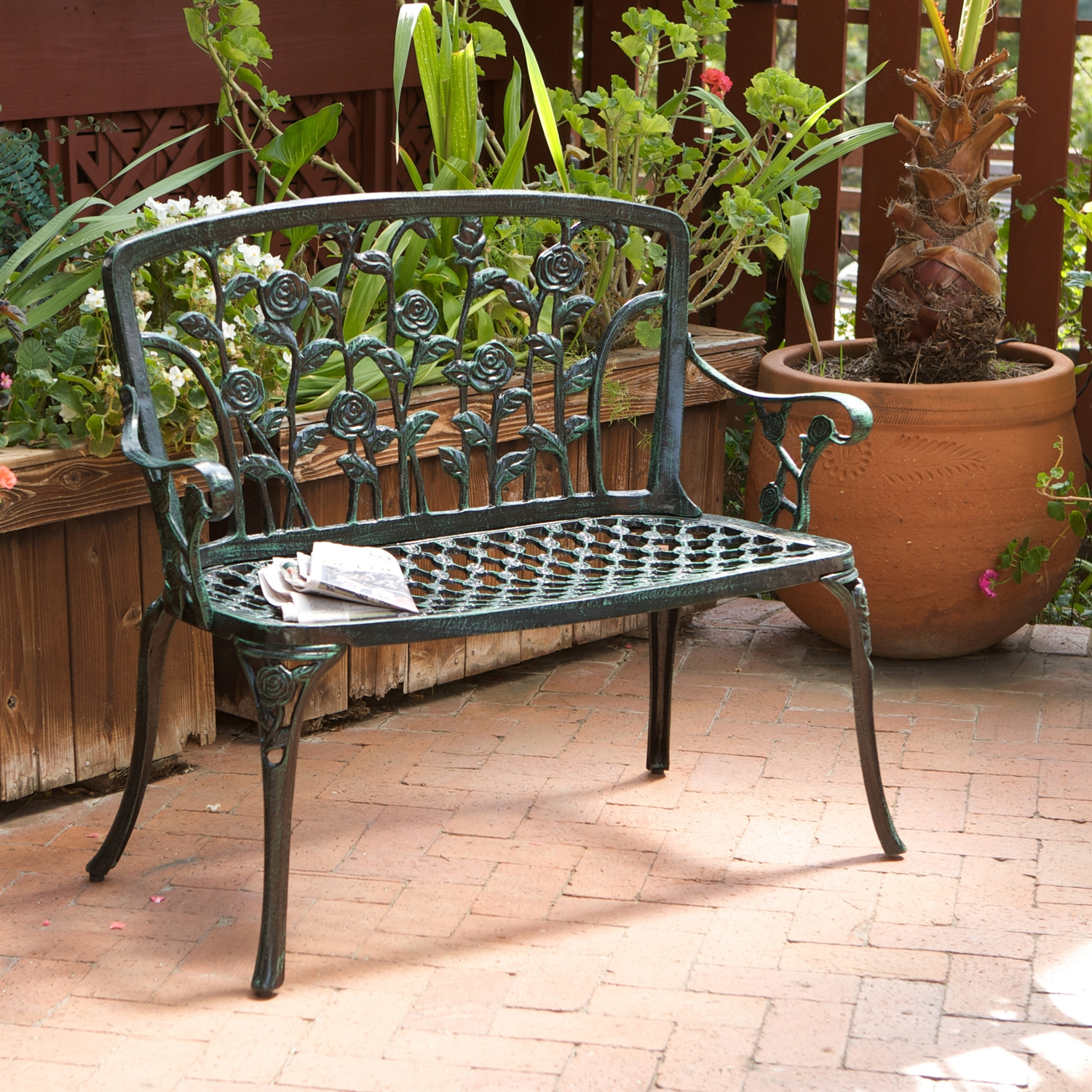 Cast Aluminum Outdoor Rose Metal Garden Bench in Green Finish, CAB153105 :  This Cast Aluminum Outdoor Rose Metal Garden Bench in Green Finish would be a great addition to your home. It has a green finish and is made of cast aluminum. Perfect chair for a garden; Elegant and stylish grid patterned; Seat allows rainwater to easily drop away; Legs feature incredibly detailed roses; Rubber feet add stability and protection; Sculpted roses are incredibly smooth; Provides comfort and support; Unique, inward-sloped seat; Construction material: Aluminum. Assembly Required: Yes; Tools Needed for Assembly: Spanner/Screwdriver; Style: Traditional; Additional Parts Required: No; Powder Coated Finish: Yes; Gloss Finish: Yes; Seat Material: Aluminum; Frame Material: Aluminum.