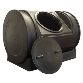 52-Gallon Compost Bin Tumbler Composter - 7 Cu. Ft. , GICWJR109 :  Please welcome the 52-Gallon Compost Bin Tumbler Composter - 7 Cu. Ft.. This little guy is the scaled down version of its 12 cubic foot kin. The Jr. holds 7 cubic feet of compost and sits on a wheeled base. The handles now provide better grip to make turning even easier. The 12-inch twist off lid keeps your compost safely closed off but is easy to remove and even doubles as an extra turning point. The ends feature aeration holes which provide much needed airflow for the compost batch with the option of drilling more for those who live in areas with low air currents. The wheeled base allows owners to turn the bin effortlessly and can easily be separated to allow the bin to roll freely from place to place. The low profile ensures that it stays out of sight and won't be blown over in high winds like other tumbler composters. The resin material used to mold the bin is 100% recycled and the rich dark color absorbs the sun's heat keeping your compost at a nice hot temperature. Comes fully assembled and requires little maintenance. Just turn once a week and after addition of new material and you can see compost in as little as 14 days. Help keep organic waste out of our landfills by getting a Compost Wizard Jr. today. Child and pet safe; Black color provides heat for quick compost.