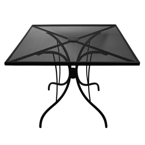 36-inch Square Patio Dining Table in Black Metal with Umbrella Hole, BDT984156 :  This 36-inch Square Patio Dining Table in Black Metal with Umbrella Hole would be a great addition to your home. Includes a weather resistant finish. Umbrella cap included; Powder Coated Finish: Yes; Primary Frame Material: Metal; Secondary Frame Material: Metal; Weather Resistant Details: Weather resistant finish; Water Resistant: Yes; Seating Capacity: 4; Country of Manufacture: China; Assembly Required: Yes; Top and base have hole for umbrella; Umbrella base required, sold separately.