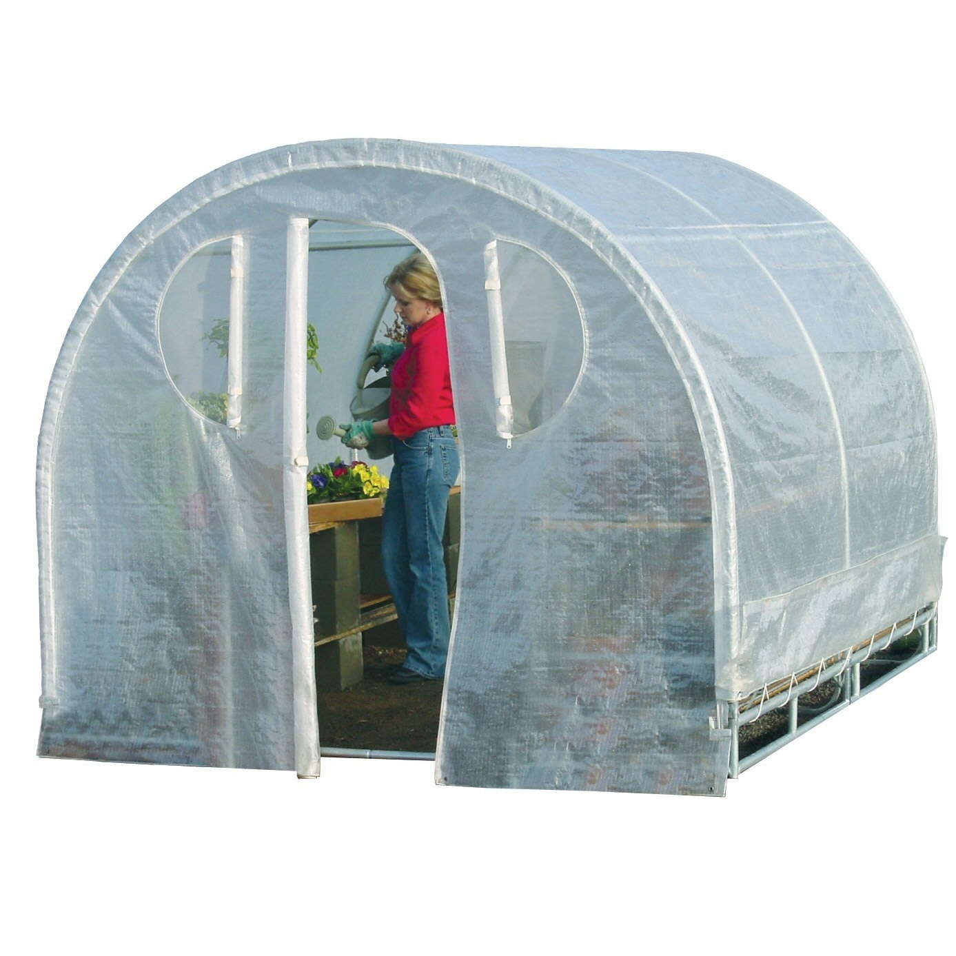 Polytunnel Hoop House Style Greenhouse (8' x 8'), PTHSG8X8 :  Designed as the highest quality, most compact, space saving greenhouse packaged in a retail box. This Polytunnel hoop-house cold-frame style High-Tunnel greenhouse features a space saver design.  The modern greenhouse offers all of the same quality, workmanship, and results as the Commercial Series Green House while appealing to beginner, novice, and professional growers alike. Each Deck and Patio greenhouse is constructed from 100 percent commercial grade galvanized steel frame. Featuring quick connect steel frame and steel frame connectors. It includes a rugged all weather triple layer Polyurethane, cover, back panel, and front entry. Rust resistant galvanized steel. The frame components and frame connectors are galvanized after being welded. This Greenhouse provides maximum protection, growth, and reliability by using a complete three piece all growth fabric construction with unit-body cover, solid connected back panel, and solid connected front entry – allowing for easy access and maintenance of plants, vegetables and herbs. It also utilizes Smart Vent – technology controlling airflow from the base of the unit and the ends of the unit with special zip out Velcro held screened vented windows. In addition the triple ridge reinforced roof structure not only acts as a weather guardian protecting against severe and inclement weather but also allows growing enthusiasts to hang their full size basket plants from the roof of the green house. All-steel construction with flex frame design and 1-1/4-inch, 16-gauge steel for stability. 14-gauge inside steel slip fitting joints for rugged rigidity and easy setup.
