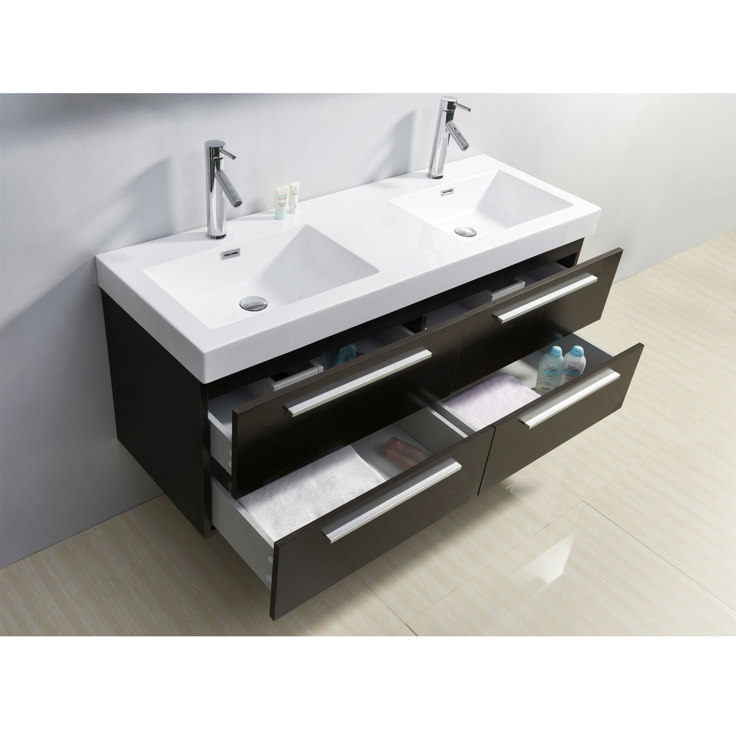 "53.9-inch Double Bathroom Vanity in Wenge with Modern Poly Marble Sink, VF539656 :  This 53.9-inch Double Bathroom Vanity in Wenge with Modern Poly Marble Sink is the very definition of quality and elegance wrapped in an ultra-modern design. Featuring four spacious drawers all mounted on soft closing slides, a high gloss poly marble sink for an easy clean, and a finish that will look marvelous for years to come. If you're looking for a vanity to impress any guest of any caliber look no further as the Finley is it. We has taken the initiative by changing the vanity industry and adding soft closing doors and drawers to their entire product line. By doing so, it will give their customers benefits ranging from safety, health, and the vanity's reliability. Plywood and composite with melamine; Single hole faucet 1.2"" diameter; Wall mount; Chrome faucets included (model number: PS-103); 4 Drawers with soft closing slides; Style: Modern; Sink Type: Drop in Top; Finish: White; Base Material: Manufactured wood; Number of Sinks: 2; Mounting: Wall mount; Doors Included: Yes; Drawers Included: Yes; Sink Included: Yes; Faucet Included: Yes."