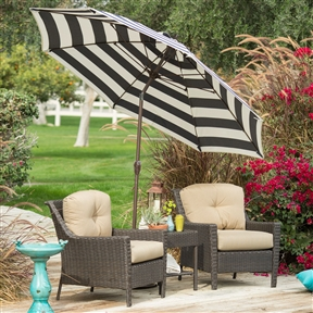 Stylish 9-Ft Market Patio Umbrella with Crank and Tilt in Navy and White Stripe, PUMG69415 :  Spending time outdoors just got better with this Stylish 9-Ft Market Patio Umbrella with Crank and Tilt in Navy and White Stripe. This beautiful umbrella features a crank lift aluminum pole and ribs which are finished in a powder-coated bronze for added longevity. Continue moving the crank to use the auto-tilt feature to easily adjust the pitch of the umbrella to continually protect you from the sun. Its Olefin fabric, in your choice of gorgeous colors, is tough and hardwearing and made to last. Commercial Grade No; International Shipping Canada; Number of Ribs 8; Pole Finish Bronze; Tilt Auto; Umbrella Shape Round; Warranty 1 Year Limited.