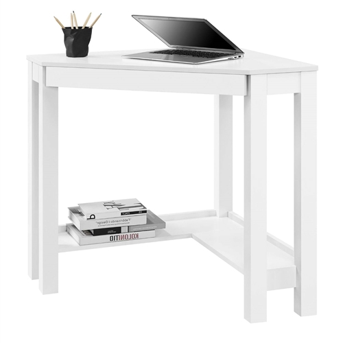 This Simple Modern Classic Corner Laptop Desk with Drawer in White allows you to optimize your workspace and that empty corner in your office or den with its convenient triangle shape. This Corner Desk has the classic parsons styling that includes a simple silhouette with clean lines. The Desk features a center storage drawer that's perfect for pens, paper, computer peripherals and other small office supplies. Large pull-out drawer provides ample room to store your office supplies and helps to prevent clutter.