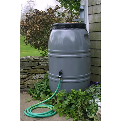 Grey 60-Gallon Rain Barrel with Lid in HDPE Food Grade Plastic Resin, GSRB51896 :  There's a new R in the recycling motto: reduce, reuse, recycle, rain barrel. This Grey 60-Gallon Rain Barrel with Lid in HDPE Food Grade Plastic Resin has a 60-gallon capacity and is made from recycled food grade polyethylene to be extra green. It includes a sturdy base and spigot perfect for standard garden hoses. It even links to other rain barrels via a .75-inch piece of garden hose so you can create a custom watering system from the water nature provides. The overflow fitting, drain plug, and screw-on cover are included and it has an insect screen to keep water clear of bugs and debris. Material Recycled Food Grade Plastic Resin; Warranty 1 Year Limited Warranty.