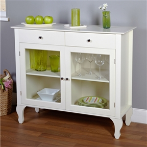 Complete the look of your living space with this Antique White Sideboard Buffet Console Table with Glass Doors. The buffet features two drawers, and two inner adjustable shelves for plenty of storage. Constructed of engineered wood, wood, tempered glass. Distressed: No; Glass Doors: Yes; Base Material: Manufactured wood; Wood; Top Material: Wood; Manufactured wood; Solid Wood Construction: No; Display Case: Yes; Drawers Included: Yes; Cabinets Included: Yes; Shelves Included: Yes; Doors Included: Yes.