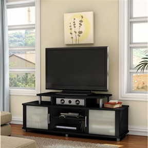 This 59-inch TV Stand in Pure Black Finish with Frosted Glass that can accommodate LCD and plasma televisions up to 50-inch. Curved shapes, metal accents, frosted glasses, ample storage and an original contrast finish all add up to a popular and unique TV stand. It combines form and function to perfection. Your living room has never been so organized! Features legs and metal handles in a brushed silver finish. This unit is able to support a television of up to 185 pounds on a shelf.